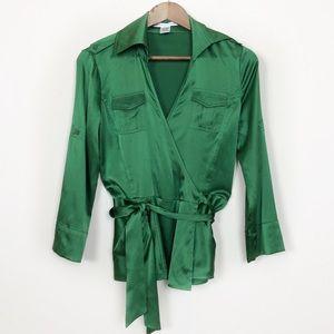 "DVF Green Silk ""Revolution"" Wrap Blouse 64"